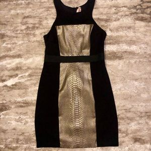 Bailey 44 Gold Snake Skin and Black Dress